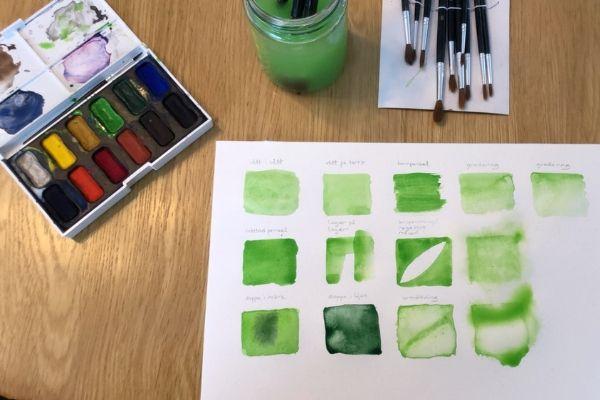 Grön akvarell grundtekniker
