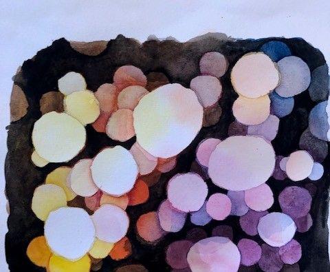 Akvarell bubblor i olika färger