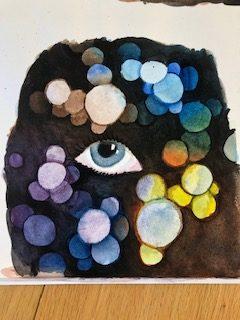 Akvarell negativt måleri maskering