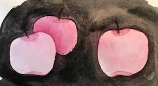 Akvarell äpplen negativt måleri